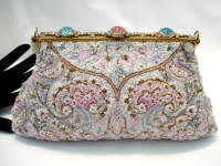 French intricately beaded evening purse enameled frame for Saks Fifth Avenue