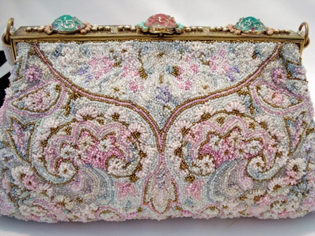 Saks Fifth Avenue French intricately beaded pastel evening purse