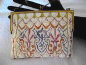 1920 Vintage French beaded and Tambour embroidered evening handbag