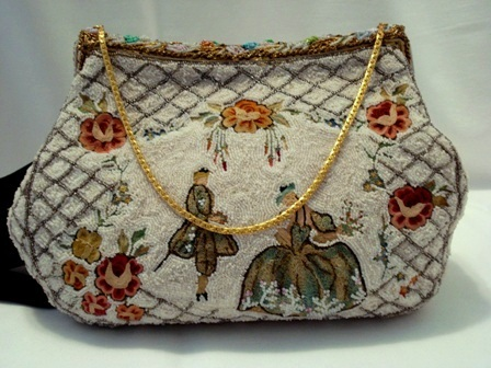 French 1940 vintage beaded embroidered evening purse enameled frame