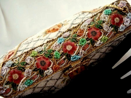 French evening bag beaded embroidered enameled frame