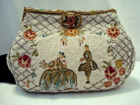 Vintage 1940 French beaded figural embroidered evening purse enameled frame