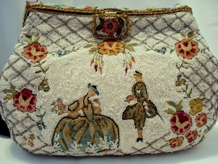 Hand made in France embroidered beaded purse with Crinoline lady