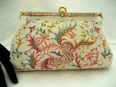 Vintage 1930 1940 Josef designer beaded embroidered evening handbag with rhinestone frame