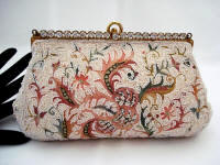 Vintage Josef coral embroidered ivory beaded evening purse rhinestone frame