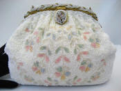 Large French Beaded evening handbag trailing pastel flowers braided frame