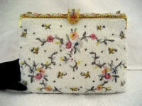 Michel Swiss vintage 1930 1940 white beaded pastel flowers and enameled frame evening purse