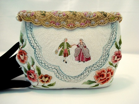 Odette French beaded figural purse with Trapunto embroidered roses