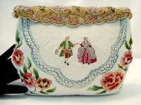 French Odette beaded figural purse Trapunto embroidery