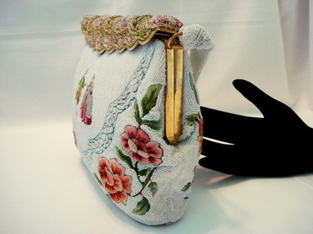 French beaded embroidered purse with Colonoal couple and Trapunto roses