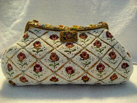 Vintage 1930 1940 French beaded evening purse with all over embroidered roses and Champleve enameled frame