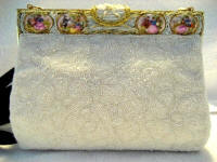Vintage 1930 1940 Walborg white beaded evening purse with 8 Limoges porcelain romance discs