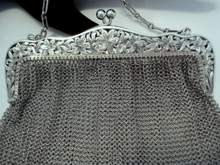 Art Nouveau sterling silver mesh purse