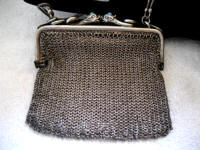 Vintage 1900 - 1920 mesh purse with snake heads antique Egyptian bag