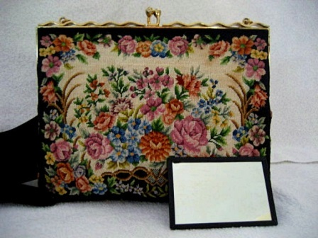 Vintage 1950 micro petit point purse with lavender roses and ribbon frame