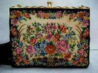 Vintage 1950 micro petit point floral purse with lavender roses