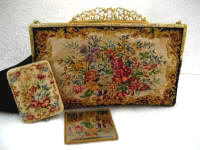 Antique petit point purse with Austrian powder compact