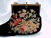 Aubusson tapestry evening purse hand woven in France