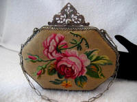 French 1900 Aubusson tapestry handbag