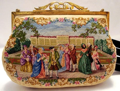 Petit point purse handbag two different scenes