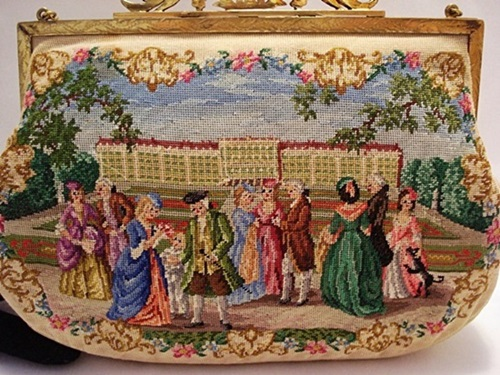 Petit point purse hand embroidered Austrian handbag