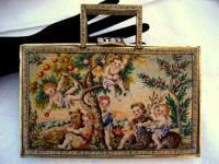 Figural children scenic micro petit point box style purse ca. 1930