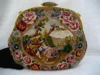 Vintage two-sided figural scenic all embroidered handbag with satin and twisted stitching