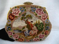 Antique dual figural scenic embroidered purse satin and twisted stitched