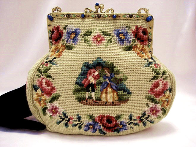 Vintage 1920 S Needlepoint Purse With Pe Point