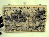 Vintage 1930 1940 monochrome petit point figural scenic purse