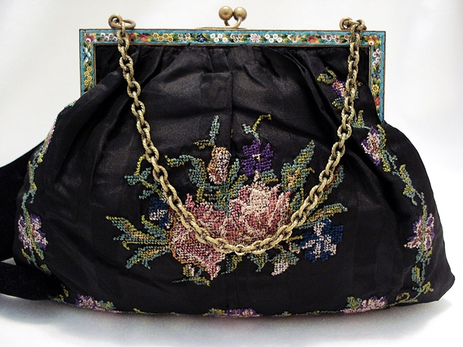 Antique embroidered silk handbag made in Italy mosaic frame