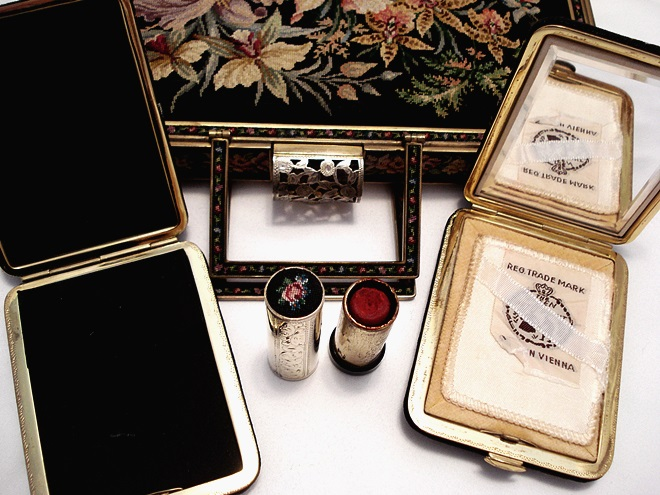 Maria Stransky petit point box purse with matched accessories