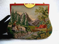Micro petit point sheppard scenic purse celluloid overlaid frame ca. 1900