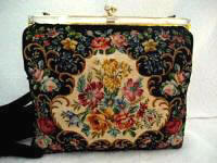 Vintage 1940 floral micro petit point purse mother of pearl frame made in France