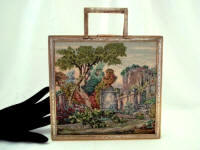 Vintage petit point scenic box purse with accessories