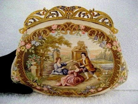 http://www.antiquepeek.com/images/Purses/Petit%20Point%20Tapestry%20Fabric/Satin_stitch_figural_scenic_purse_jeweled_frame1%20-%20Copy.JPG