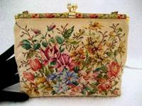 Vintage 1940 Italian micro petit point purse with petit point frame