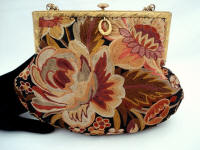Vintage Tambour embroidered purse 1930 French hand stitched