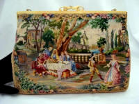 Walborg 1940 1950 scenic micro petit point purse
