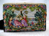 Walborg vintage petit point figural scenic purse