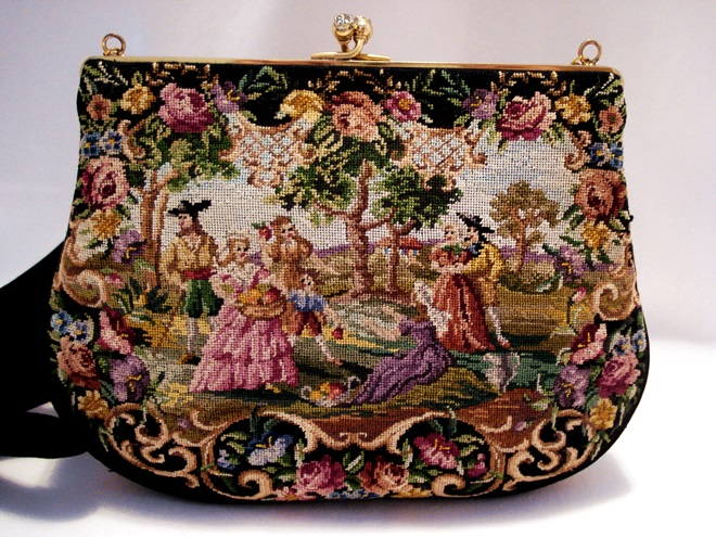 Walborg Petit Point Purse Scenic Vintage Handbag