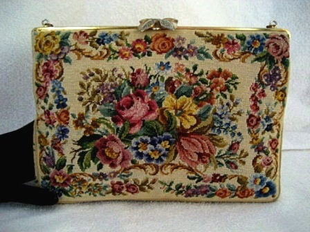 Walborg vintage 1940 petit point designer purse with roses flowers and marcasite leaf clasp