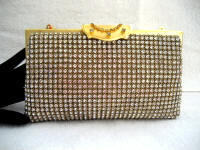Vintage 1950 gold tone rhinestone covered evening purse or carry as a clutch
