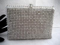 Vintage 1950 Walborg silver tone rhinestone covered evening purse with rhinestone covered frame