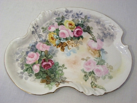 Antique Hand Painted Limoges Vanity Tray, ... - Antique Vanity Dresser Perfume Tray Hand Painted Limoges Roses