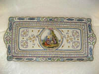 Vintage dresser tray 1920 - 1940 bisque porcelain with figural scene