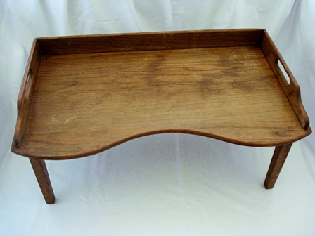 wood lap table bed tray antique oak footed breafast bed lap tray early