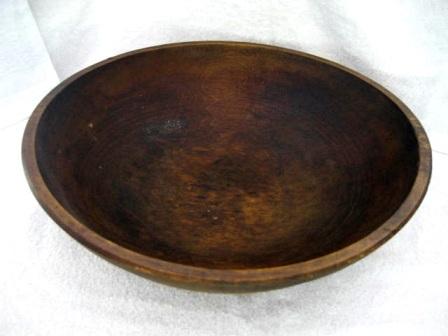 Antique Dark Hard Wood 17 Inch Dough Bread Bowl Late 1800