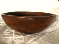Mid 1800 hand turned dough bowl massive 22 inch rimmed and footed