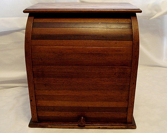 Antique 1920 roll front cabinet spice tea bread - Antique Roll Front Countertop Cabinet Spices Tea Bread